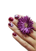 Woman fingers with decorated nails — Stock Photo