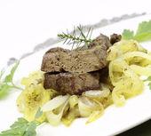 Fried pork liver — Stock Photo
