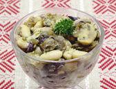 Garlic beans and mushrooms snack — Stock Photo