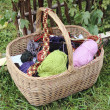 Stock Photo: Basket with yarn