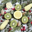 Stock Photo: Fruit on snow
