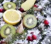 Fruit on snow — Stock Photo
