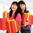 Two young girls carrying present — Fotografia Stock  #10957975