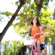 Riding bicycle outdoor — Stock Photo