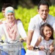 Family outdoor with bikes — Stok fotoğraf