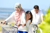 Family bicycle outdoor — Stock Photo