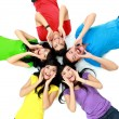 Colorful group of friends on the floor - Stock Photo