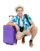 Tourist with suitcase — Stock Photo