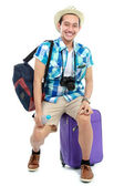 Young traveler smiling — Stock Photo