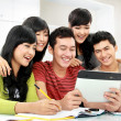 Students  with tablet — Stock Photo