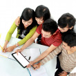 图库照片: Students with tablet