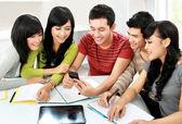 Students with handphone — Stock Photo