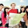 Happy young tourists — Stock Photo