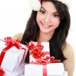 Womin Santhat holding Christmas gifts — Stock Photo #16978611