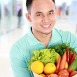 Man with a grocery bag — Stock Photo