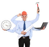 Male architect busy with many hands — Stock Photo