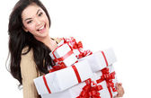 Girl with a lot of gift box — Foto de Stock
