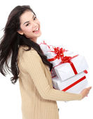Girl with a lot of gift box — Stock Photo