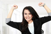 Business woman celebrating success — Stock Photo