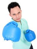 ボクシング グローブと若い男 — ストック写真