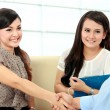 Stock Photo: Business colleagues shaking hands after interview