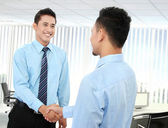 Business man shaking hands — Stock Photo