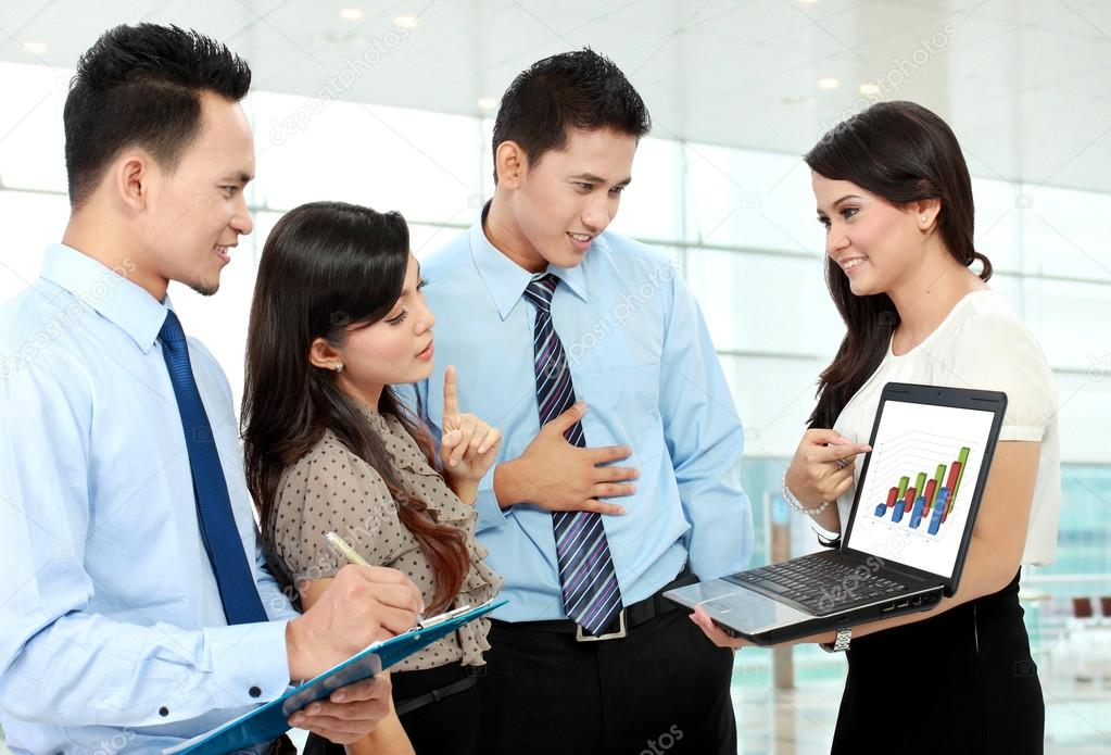 Download group of business meeting with laptop stock image