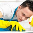 Male doing cleaning — Stock Photo