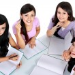 Foto Stock: Group of student studying together