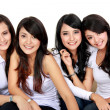 Group of beautiful women smiling — Stockfoto