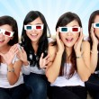 Surprised Young woman in 3D glasses — Stockfoto