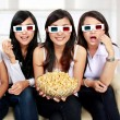 Girl friends watching movie in 3d — Stock Photo