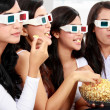 Watching movie wearing 3d glasses — Stock Photo