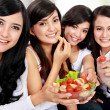 Woman friend having salad together — Stock Photo #19847225