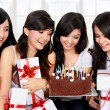 Happy young woman friend celebrate birthday — ストック写真