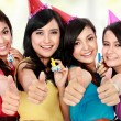 Beautiful girls celebrate birthday — Foto de Stock