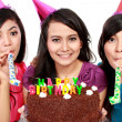 Beautiful girls celebrate birthday - Stok fotoğraf