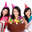 Beautiful girls celebrate birthday — Stock Photo #19847421