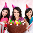 Beautiful girls celebrate birthday - Zdjcie stockowe