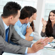 Businesswoman talking during meeting - Foto Stock
