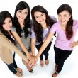 Group of beautiful women with their hands together — Foto de Stock