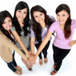 Group of beautiful women with their hands together — Stock fotografie