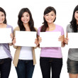 Group of beautiful women with blank paper — Stock Photo #19848923