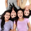 Asian women relaxing smiling lying on the floor — Stock Photo #19848983