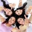Asian women relaxing smiling lying on the floor — Stock Photo #19849005