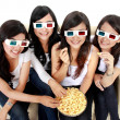 Woman watching movie in 3d — Stockfoto