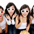 Surprised Young woman in 3D glasses — Stock Photo