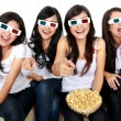 Laughing at comedy movie in 3d — Stock Photo #19849209
