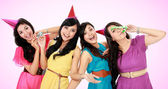 Beautiful girls celebrate birthday — Stock Photo