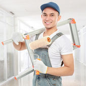 Happy painter worker — Stock Photo